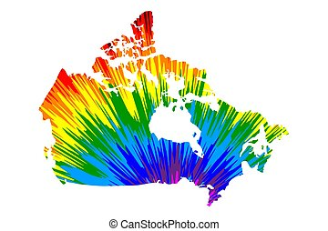 Canada - map is designed rainbow abstract colorful pattern