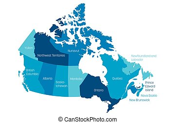 Canada - map of provinces and territories