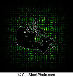 Canada map silhouette on hex code illustration