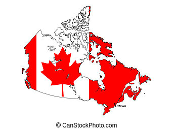Canada Map - stylized Canada map on white background