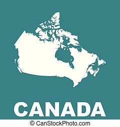 canada, map., vecteur, plat
