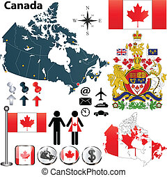 Vector set of Canada country shape with region borders, flags and arms on white background.