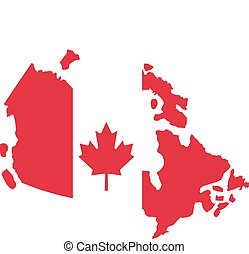 Canada map with canadian flag