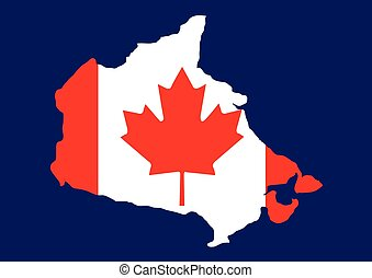 Canada map with flag inside, canada