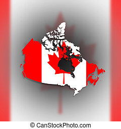 Canada map with the flag inside