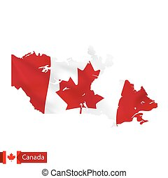 Canada map with waving flag of country.