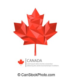 Canada Maple Leaf Design, low poly illustration