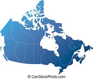 canada, met, provincies, schaduwen, van, gearceerd, blauwe