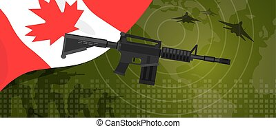 Canada military power army defense industry war and fight country national celebration with gun soldier jet fighter and radar