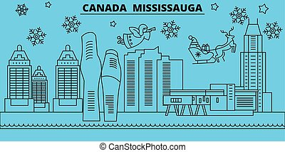 canada mississauga winter holidays skyline merry christmas happy new year decorated banner with