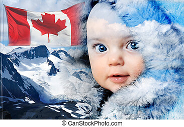 canada, montagna, inverno, bambino