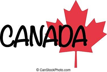 canada, mot, écrit, feuille, érable