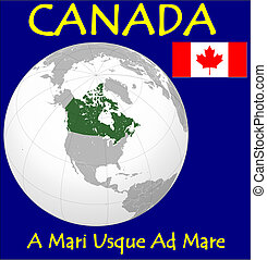 Canada motto - Canada location flag coat motto