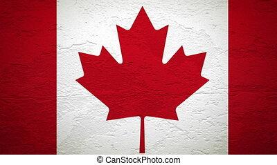 canada, mur, drapeau, explosion