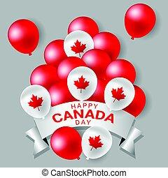 canada, national, fête, blanc, ballons, jour, rouges