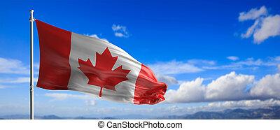 Canada national flag waving on blue sky background. 3d illustration