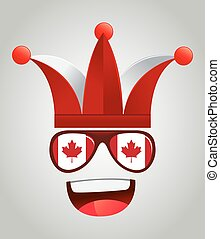 Canada national supporters with party hats and glasses, vector illustration