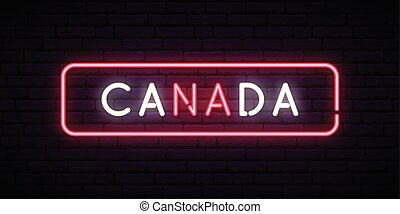Canada neon sign. Bright light signboard.