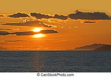 canada, oceano pacifico, vancouver, tramonto, sopra