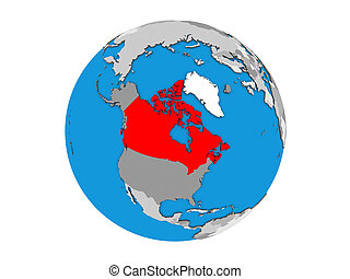 Canada on 3D globe isolated