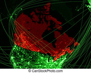 Canada on green map