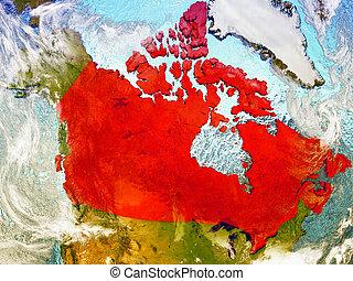 Canada on illustrated globe