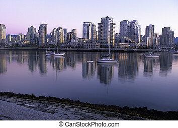 canada, orizzonte, vancouver, dawn-