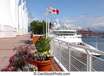 canada, ormeggiato, bc, &, nave, posto, crociera, vancouver, canada.