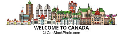 Canada outline skyline, canadian flat thin line icons, landmarks, illustrations. Canada cityscape, canadian travel city vector banner. Urban silhouette