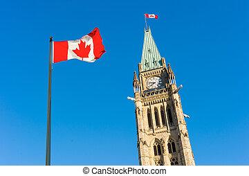 Canada Parliament and Canadian Flag over blue sky.
