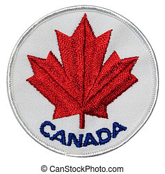 A Canada patch souvenir featuring a red maple leaf. With clipping path.