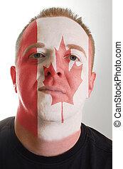 canada, patriot, geverfde, vlag, gezicht, kleuren, serieuze , man