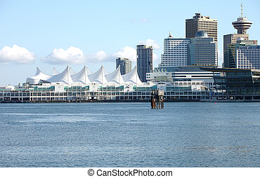 Canada Place and Vancouver skyline, Canada.