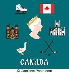 canada, plat, voyage, symboles, icônes