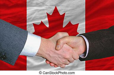 canada, poignée main, bon, affaire, après, drapeau, hommes ...