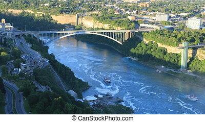 canada, pont, arc-en-ciel, chutes du niagara, vue