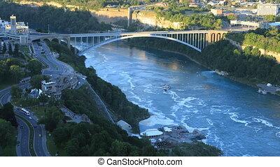 canada, pont arc-en-ciel, timelapse, chutes du niagara