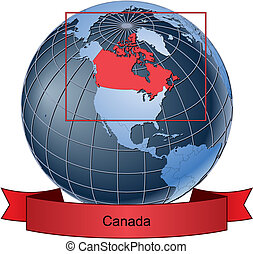 Canada, position on the globe Vector version with separate layers for globe, grid, land, borders, state, frame; fully editable
