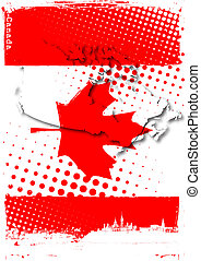 canada poster - map on the flag of canada