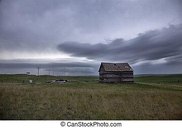 canada, prairie, nuages, orage