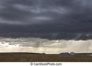 canada, prairie, nuages tempête