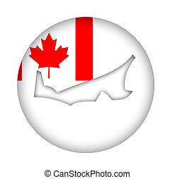Canada Prince Edward Island state map flag button