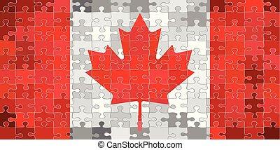 canada, puzzle, fait, drapeau, fond