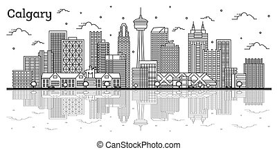 canada, réflexions, isolé, calgary, bâtiments, horizon, ...