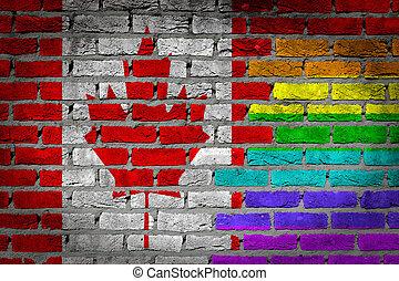 canada, rechten, muur, -, donker, lgbt, baksteen