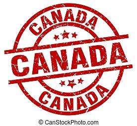 Canada red round grunge stamp