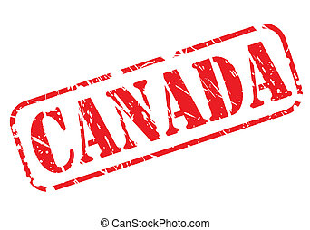 CANADA red stamp text on white