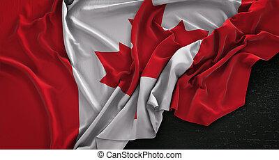 canada, render, donker, vlag, achtergrond, rimpelig, 3d