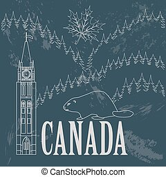 canada, retro, landmarks., disegnato