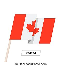 Canada Ribbon Waving Flag Isolated on White. Vector Illustration.